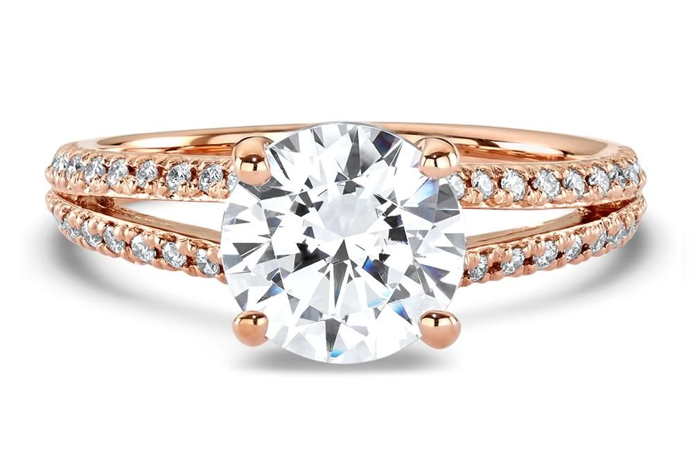 double french set diamond v engagement ring in rose gold