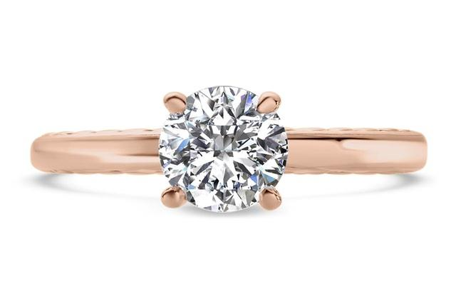 engraved rose gold solitaire engagement ring