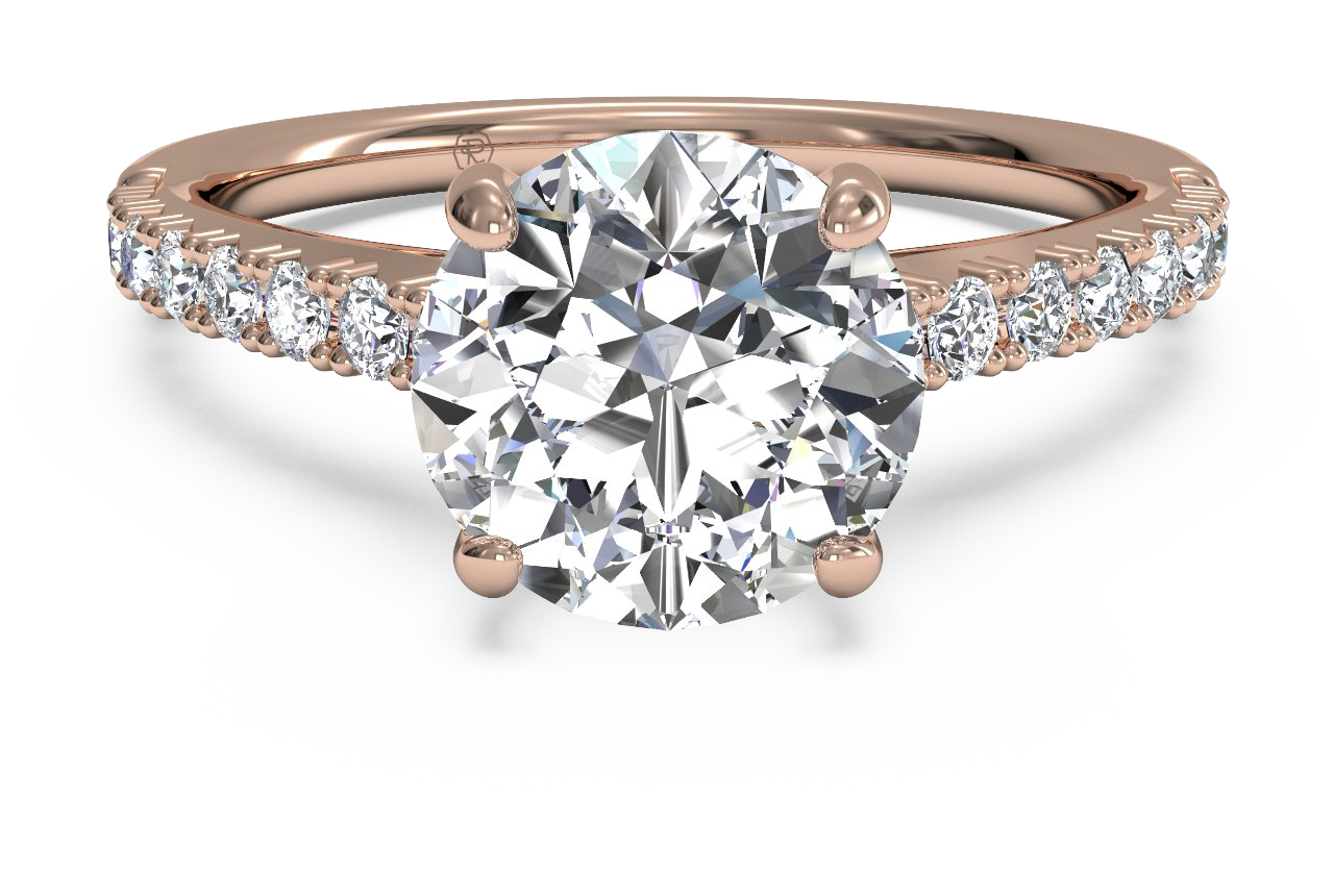 french set diamond band engagement ring in rose gold