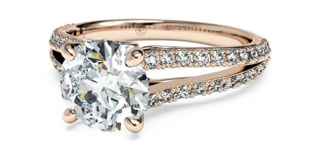split shank rose gold diamond engagement ring