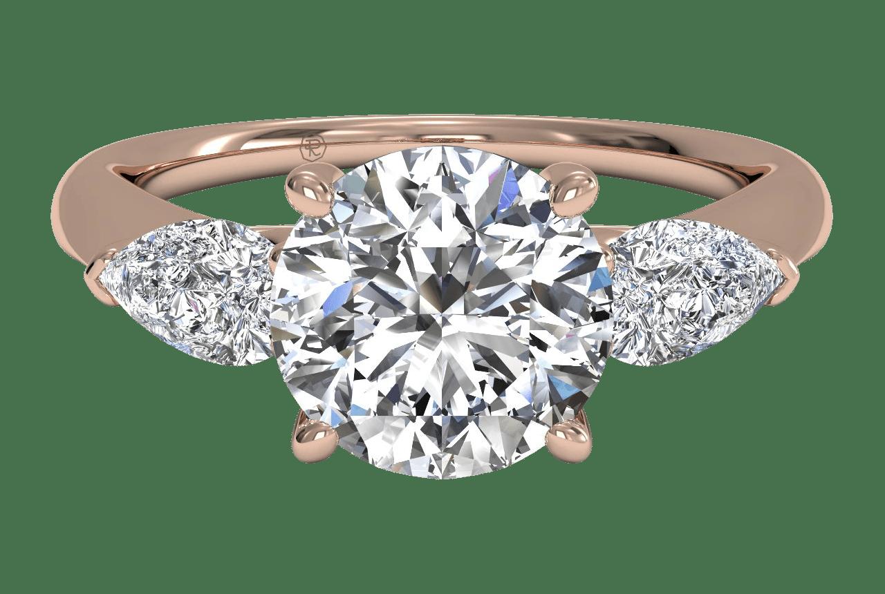 three stone rose gold engagement ring